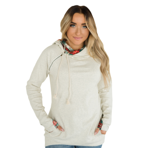 Women's  Oatmeal Plaid DoubleHood Sweatshirt