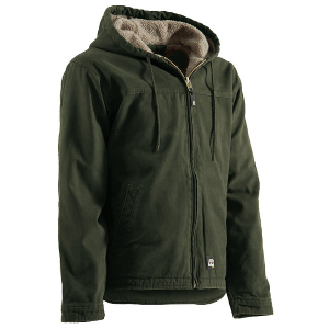 Men's  Sanded Hooded Work Jacket - Sherpa Lined