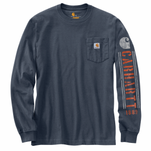 Men's  Original Fit Heavyweight Long Sleeve Pocket Logo Graphic Tee