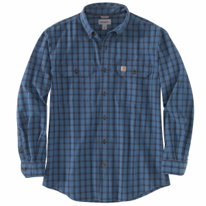 Men's  Original Fit Chambray Plaid Long Sleeve Shirt