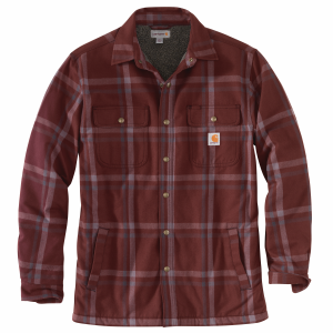 Men's  Relaxed Fit Flannel Sherpa Lined Snap Front Shirt Jac