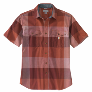 Men's  Rugged Flex Relaxed Fit Lightweight Short Sleeve Plaid Shirt