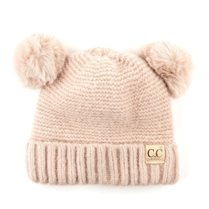 Girls'  Lined Double Pom Beanie