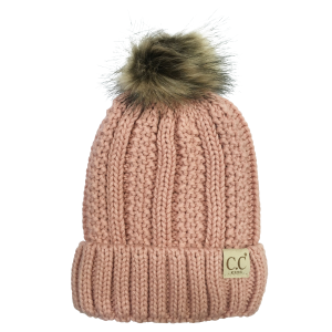 Girls'  Cable Knit Fur Pom Pom Beanie
