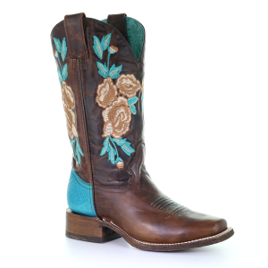 Women's  Chocolate and Turquoise Embroidered Rodeo Collection Boot