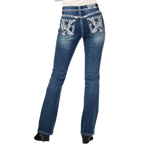 Women's  Abstract Embroidery Boot Cut Jean