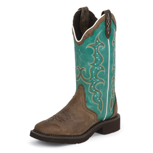 "Women's  12"" Turquoise and Brown Cowhide Gypsy Boot"