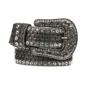 Women's  Studded Rhinestone Pewter Belt