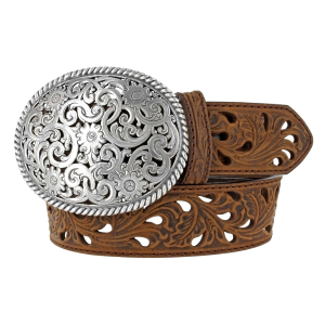 "Women's  1-1/2"" Pierced Filigree Trophy Belt"