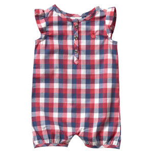 Girls'  Infant Geranium Woven Plaid Romper