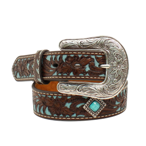 Girls'  Diamond Concho Floral Embossed Belt