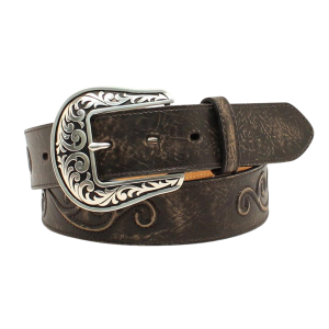 "Women's  1-1/2"" Distressed Scroll Belt"