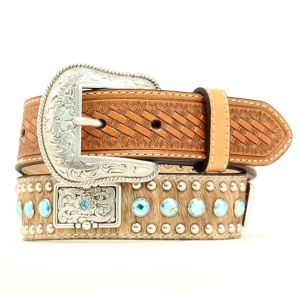 Girls'  Rhinestone & Hair Detailed Leather Belt