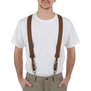 Men's  Leather Basketweave Galluse Suspender