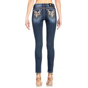 Women's  Feathered Skull Skinny Jean