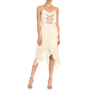 Women's  Crossover Embroidered Spaghetti Strap Dress