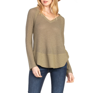 Women's  V-Neck Long Sleeve Round Sweep Knit Top