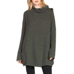 Women's  Layered Open Knit Front Pocket Long Sleeve Sweater