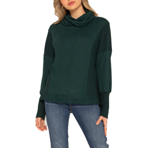 Women's  Lace Trimmed Cowl Neck Shirt