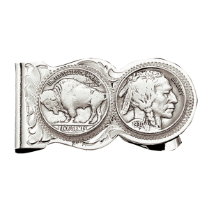 Men's  Buffalo Indian Nickel Scalloped Money Clip