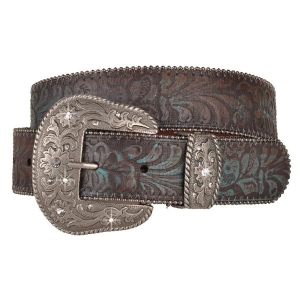 Women's  Embossed Belt with Rhinestone Buckle