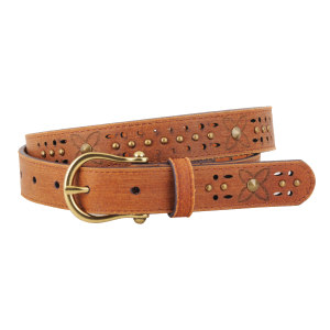 Women's  Cutout Floral Studded Belt