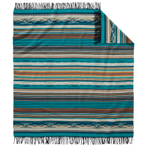 Turquoise Striped Chimayo Throw Blanket