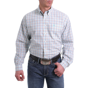 Men's  White/Tan Plaid Long Sleeve Button Down Shirt