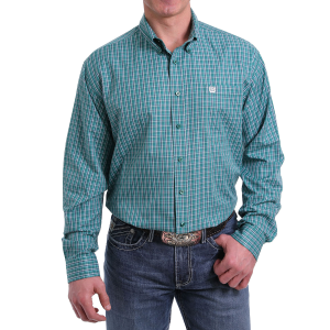 Men's  Green Plaid Long Sleeve Snap Shirt