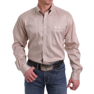 Men's  Khaki Print Long Sleeve Button Down Shirt