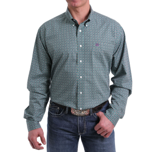 Men's  Green Flower Print Long Sleeve Button Down Shirt