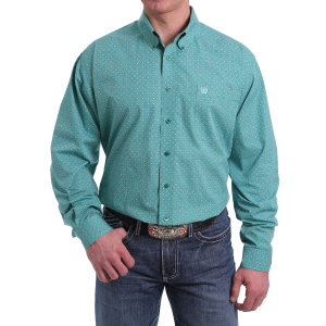 Men's  Green Circle and Square Print Long Sleeve Button Down Shirt