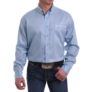Men's  Light Blue/White Print Long Sleeve Button Down Shirt