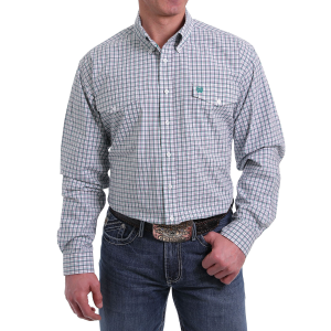 Men's  White/Purple/Green Plaid Long Sleeve Button Down Shirt