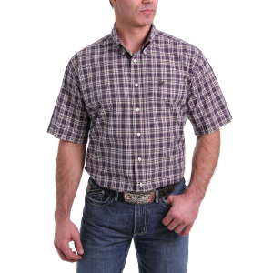 Men's  Purple/Tan Plaid Short Sleeve Button Down Shirt