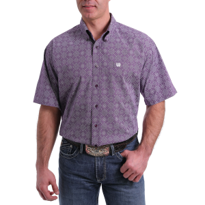 Men's  Purple Dot Diamond Short Sleeve Button Down Shirt