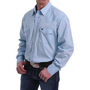 Men's  Blue Dot Long Sleeve Snap Shirt