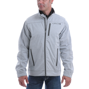 Men's  Gray Textured Concealed Carry Bonded Jacket