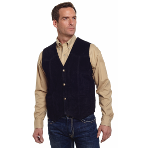 Men's  Snap Front Boar Suede Vest