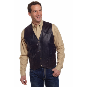 Men's  Antiqued Snap Front Boar Suede Vest