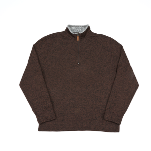 Men's  Quarter Zip Marled Knit Pullover Sweater