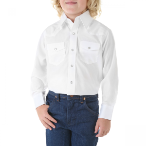 Boys'  White Long Sleeve Dress Western Solid Snap Shirt