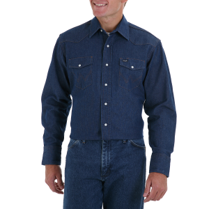 Men's  Cowboy Cut Work Western Denim Long Sleeve Snap Shirt-Rigid Indigo - Big and Tall