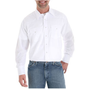 Men's  White Western Snap Shirt
