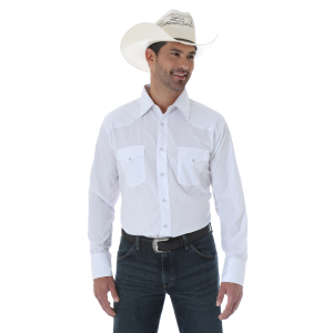 Men's  Silver Edition White Mitered Styling Long Sleeve Snap Shirt