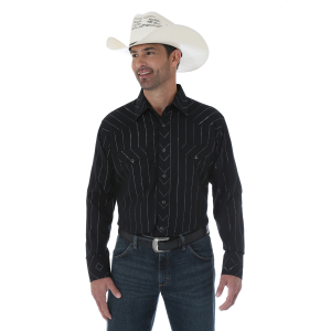 Men's  Silver Edition Black Mitered Styling Long Sleeve Snap Shirt