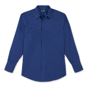 Men's  Silver Edition Blue Print Long Sleeve Snap Shirt