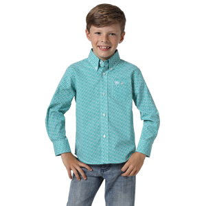Boys'  Classics Emerald Print Long Sleeve Button Down Shirt
