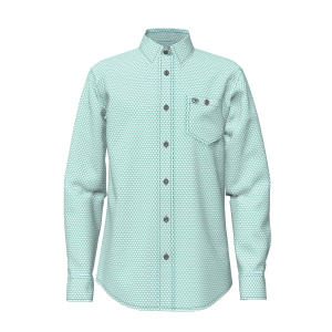Boys'  George Strait White/Turquoise Triangle Print Short Sleeve Button Down Shirt