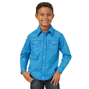 Boys'  20X Competition Advanced Comfort Blue/White Diamond Print Long Sleeve Snap Shirt
